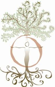Building Soul: The tree woman symbol is Mother Nature, who embodies the integration of the sacred geometry principal of the circle, the divine feminine, with the cross, the divine masculine thrust of a focused direction and intention, with both meeting in the heart at the centre of the circle & the point of the cross. Both forms meet in a sacred marriage and balance at the heart of the Nature as well as in the human form. This image was designed by Ingrid Cryns in 2000