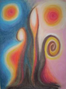 Fertile SOUL Growing - Oil Pastel Drawing by Ingrid Cryns
