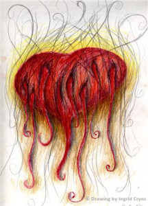 Leaking Grieving Heart,Drawing by Ingrid Cryns