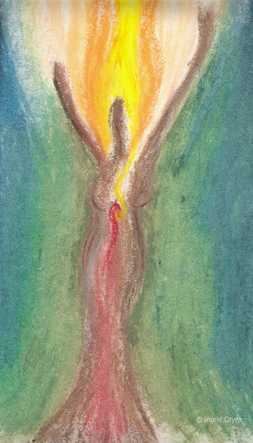 'Spirit Woman, Oil Pastel Drawing by Ingrid Cryns'